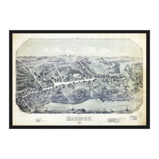 Aerial View of Madison, Connecticut (1881) Canvas Print