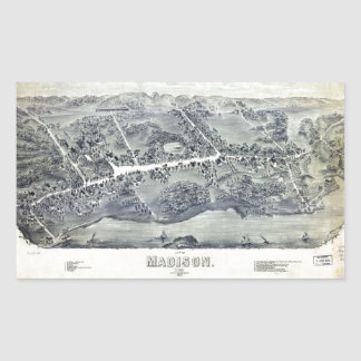 Aerial View of Madison, Connecticut (1881) Rectangular Sticker