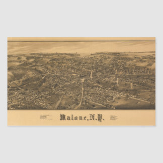 Aerial View of Malone, New York (1886) Rectangular Sticker