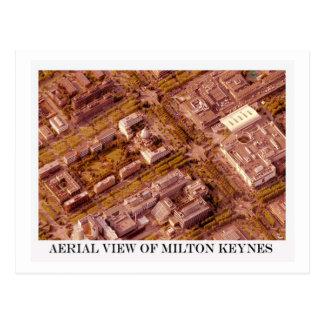 Aerial view of Milton Keynes sepia postcard