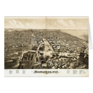 Aerial View of Milwaukee, Wisconsin (1879) Card