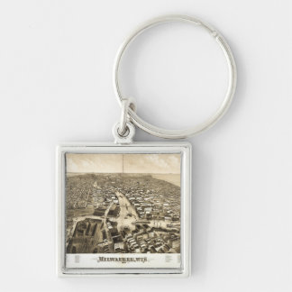 Aerial View of Milwaukee, Wisconsin (1879) Key Ring