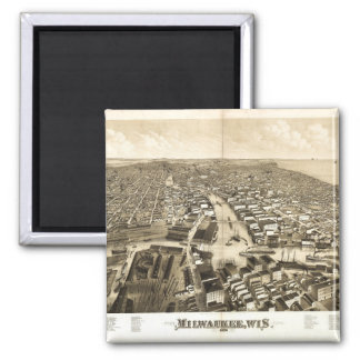 Aerial View of Milwaukee, Wisconsin (1879) Magnet