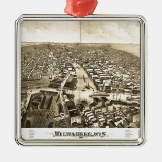 Aerial View of Milwaukee, Wisconsin (1879) Metal Ornament