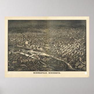 Aerial View of Minneapolis, Minnesota (1885) Poster