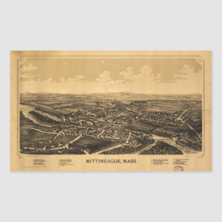 Aerial View of Mittineague, Massachusetts (1889) Rectangular Sticker
