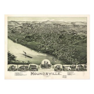 Aerial View of Moundsville, West Virginia (1899) Postcard