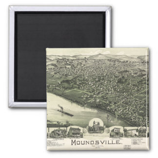Aerial View of Moundsville, West Virginia (1899) Square Magnet