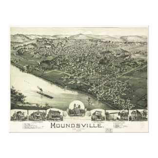 Aerial View of Moundsville, West Virginia (1899) Stretched Canvas Print