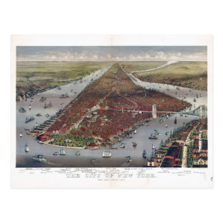 Aerial View of New York City (1884) Postcard