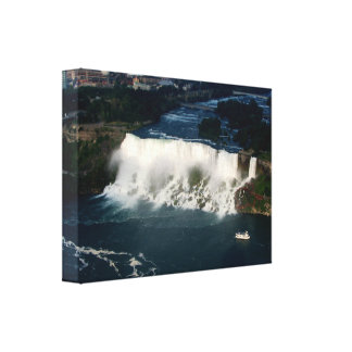 Aerial View of Niagara Falls & Maid of The Mist Canvas Print