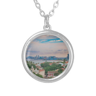 Aerial View of Olinda and Recife Pernambuco Brazil Silver Plated Necklace