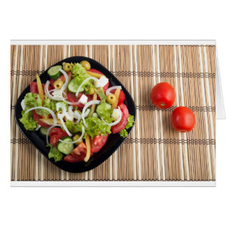 Aerial view of one portion of vegetable salad card