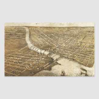 Aerial View of Oshkosh, Wisconsin (1867) Rectangular Sticker