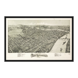 Aerial View of Parkersburg, West Virginia (1899) Canvas Print
