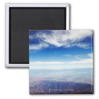 Aerial view of red brown mountains square magnet