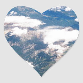 Aerial View of Rocky Mountains Heart Sticker