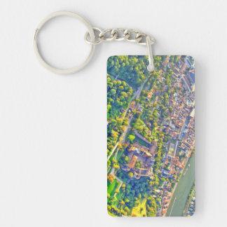 Aerial view of romantic Heidelberg castle Key Ring