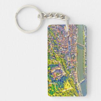 Aerial view of romantic Heidelberg city & castle Key Ring
