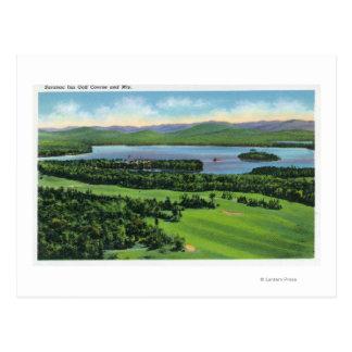 Aerial View of Saranac Inn Golf Course & Postcard