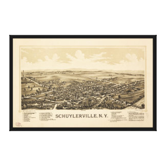 Aerial View of Schuylerville, New York (1889) Canvas Print