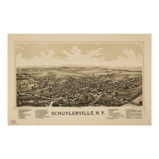 Aerial View of Schuylerville, New York (1889) Poster