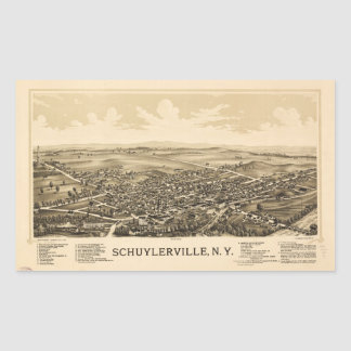 Aerial View of Schuylerville, New York (1889) Rectangular Sticker
