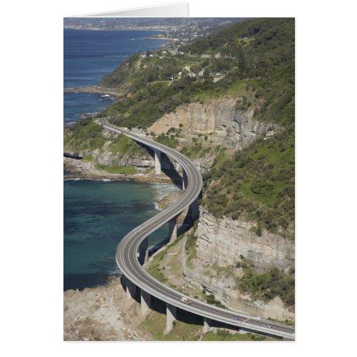 Aerial view of Sea Cliff Bridge near Wollongong, Greeting Card