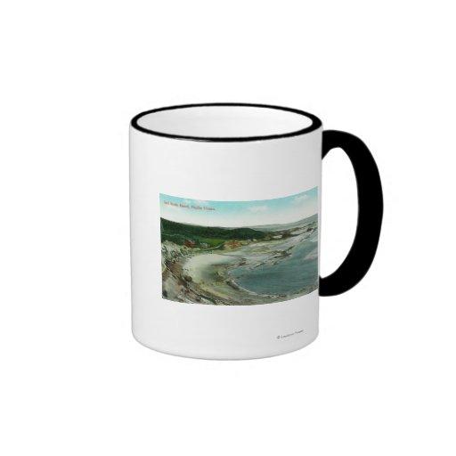 Aerial View of Seal Rocks Resort and Pacific Mug