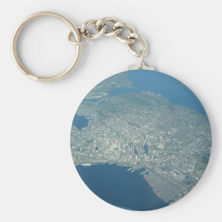 Aerial view of Seattle Basic Round Button Key Ring
