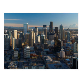 Aerial view of Seattle city skyline Post Card