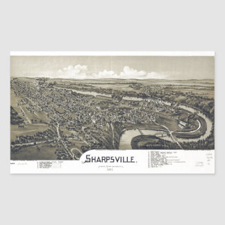 Aerial View of Sharpsville, Pennsylvania (1901) Rectangular Sticker