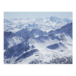 Aerial view of snow covered mountains postcard