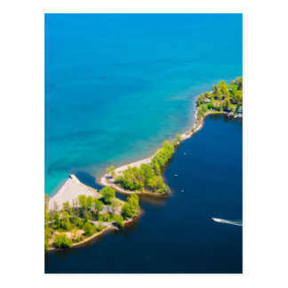 Aerial view of Sodus Bay and Lake Ontario Postcard
