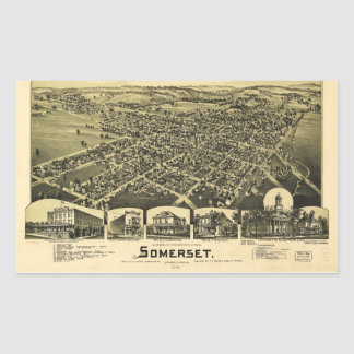 Aerial View of Somerset, Pennsylvania (1900) Rectangular Sticker