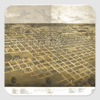Aerial View of Springfield, Illinois (1867) Square Sticker