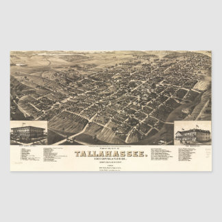 Aerial View of Tallahassee, Florida (1885) Rectangular Sticker