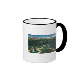 Aerial View of the Public Gardens, Beacon Hill Coffee Mug