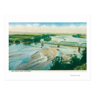 Aerial View of the River and Bridge Postcard