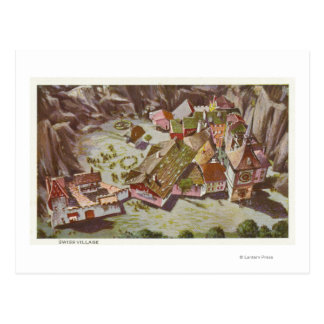 Aerial View of the Swiss Village Postcard