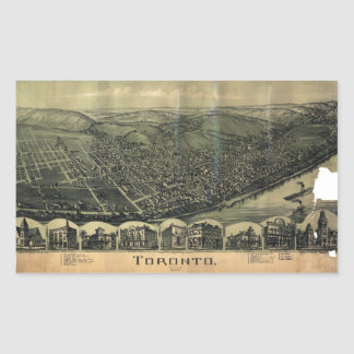 Aerial View of Toronto, Ohio (1899) Rectangular Sticker