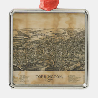 Aerial View of Torrington, Connecticut (1889) Metal Ornament