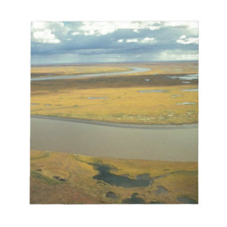 AERIAL VIEW OF TUNDRA TURNING GOLDEN IN THE FALL NOTEPADS