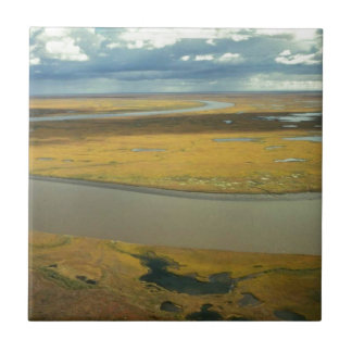 AERIAL VIEW OF TUNDRA TURNING GOLDEN IN THE FALL SMALL SQUARE TILE