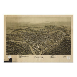 Aerial View of Tyrone, Pennsylvania (1895) Poster