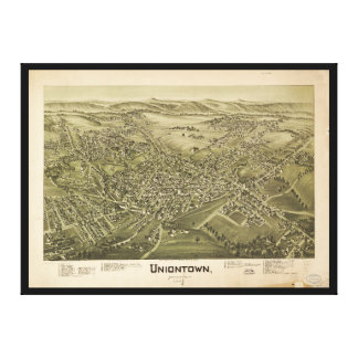Aerial View of Uniontown, Pennsylvania (1897) Canvas Print