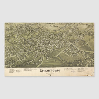 Aerial View of Uniontown, Pennsylvania (1897) Rectangular Sticker