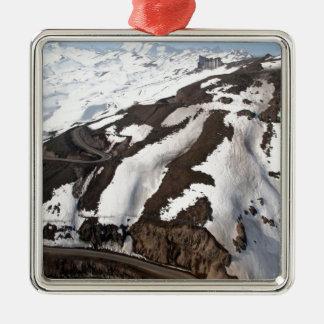 Aerial view of Valle Nevado ski resort Chile Silver-Colored Square Decoration