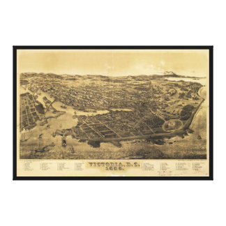Aerial View of Victoria, B.C., Canada (1889) Canvas Print