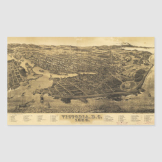 Aerial View of Victoria, B.C., Canada (1889) Rectangular Sticker